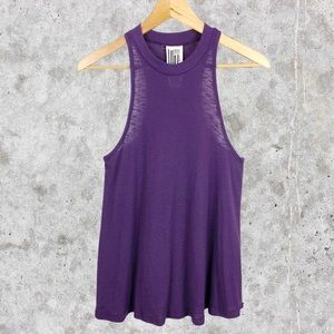 Free People Plum Ribbed High Neck Muscle Tank S